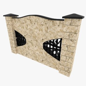 3D model marble fence