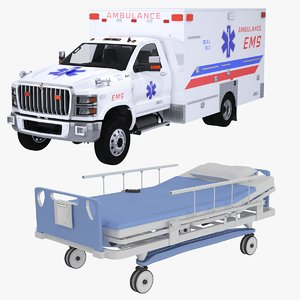3D hospital bed ems ambulance
