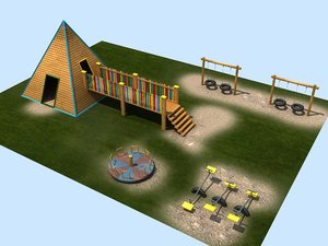 3D model playground swing seesaw