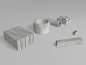 3D concrete props model
