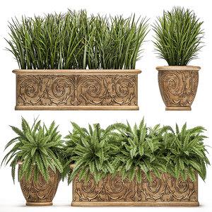 3D ornamental bushes classic flowerpots model