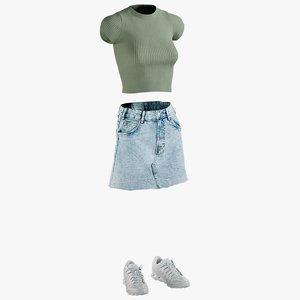 realistic skirt tshirt sneakers 3D