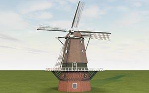3D model realistic dutch windmill build