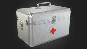 3D aid kit metal box model