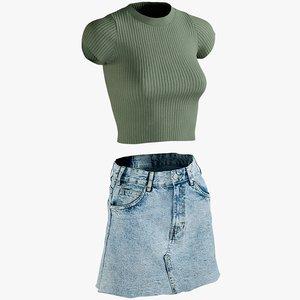3D realistic skirt tshirt