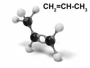 3D model propene ch2=ch-ch3 modeled