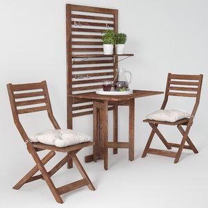 garden furniture ikea table chair 3D model