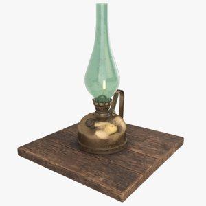 3D brass kerosene oil lamp