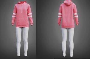 3D model pink oversized hoodie leggings