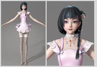 cartoon manga girl asian Japanese anime characters Loli Low-poly 3D model