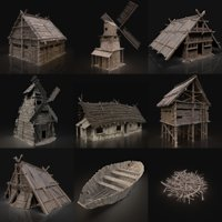 Viking Farm Settlement Builder Village House Cottage Hut Pack 3D Model Collection