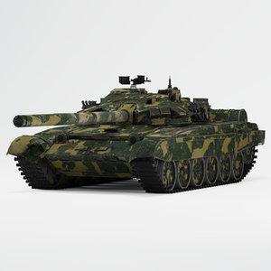 t-72 tank camouflage 3D model