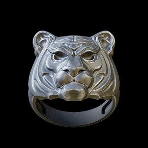 3D tiger head ring jewelry model