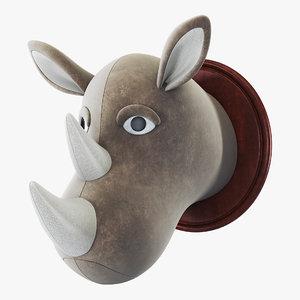 3D fabric rhinoceros head trophy
