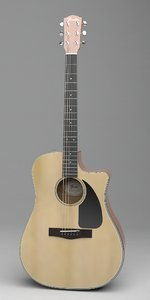 fender dreadnought acoustic guitar 3D model
