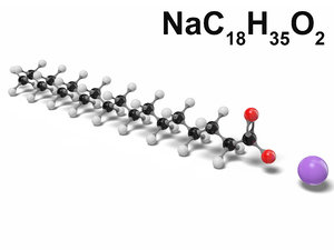 sodium stearate nac18h35o2 modeled 3D model