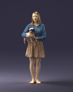 3d body scan woman dog model