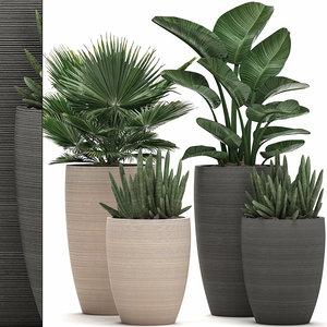 3D decorative pots plants