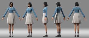girl student japanese 3D model