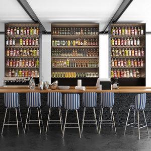 3D bars restaurants model