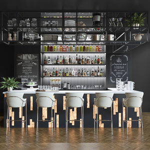 alcohol bar restaurant 3D model
