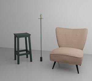3D living room chair sofa