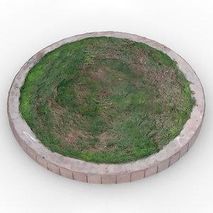 raised circular lawn 3D model