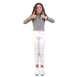 3D little girl standing model