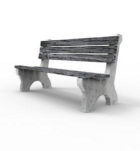 3D park bench -
