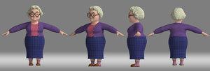 3D cartoon woman grandma model