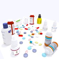 low poly Medicine pills drugs medicine equipment essentials droppers pain killer Fist Aid Kid