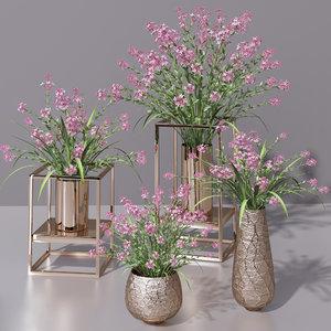 3D lilac vases bouquet flower plant