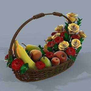 3D basket flowers fruits modeled