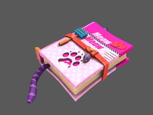 stylized cat training book 3D model