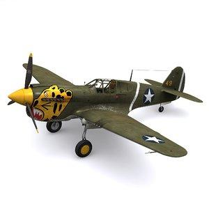 curtiss warhawk p-40e 1942 3D model