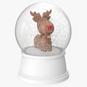 3D model snow globe deer 3