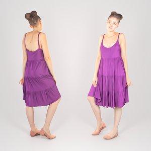 3D young woman dressed purple