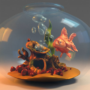 3D aquarium fish goldfish