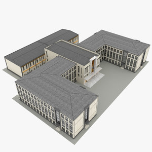 school building architecture 3D model