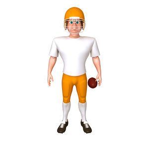 3D american football player cartoon