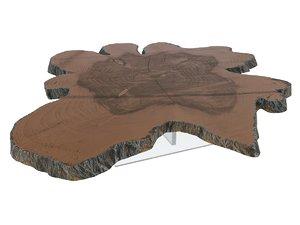 sliced wood table 3D