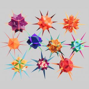 stylized virus 3D model