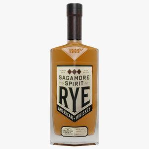 3D rye whiskey bottle model