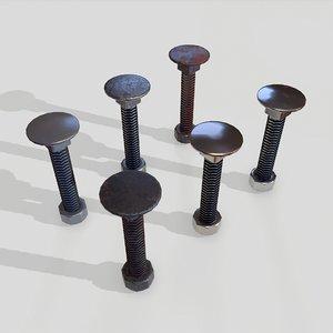3D flat bolt nut 6 model