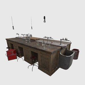 3D model laboratory table lab