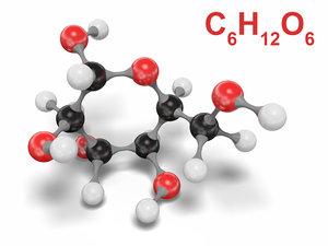 3D model glucose molecule modeled