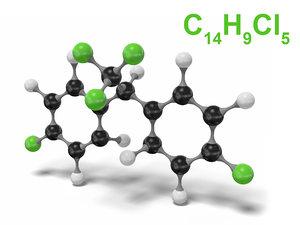 pesticide ddt molecule c14h9cl5 model