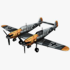 bf 109 zwilling 3D model
