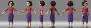 3D cartoon woman teacher