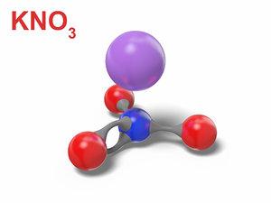3D potassium nitrate kno3 modeled model